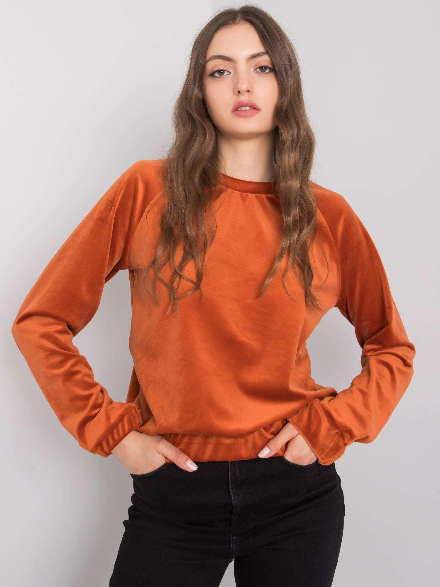 RUE PARIS Tmavo oranžová velúrová mikina L