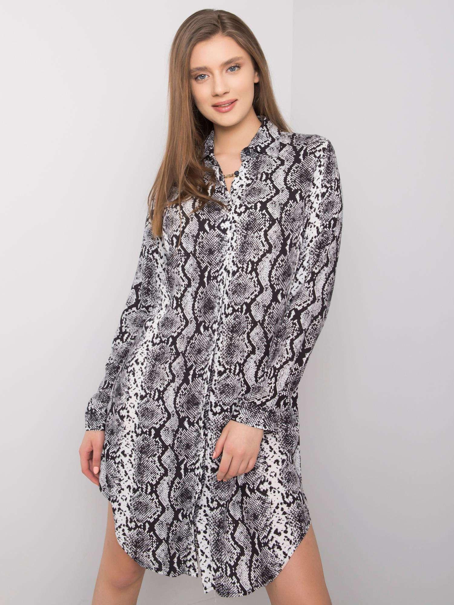 RUE PARIS Čiernobiele šaty s potlačou M