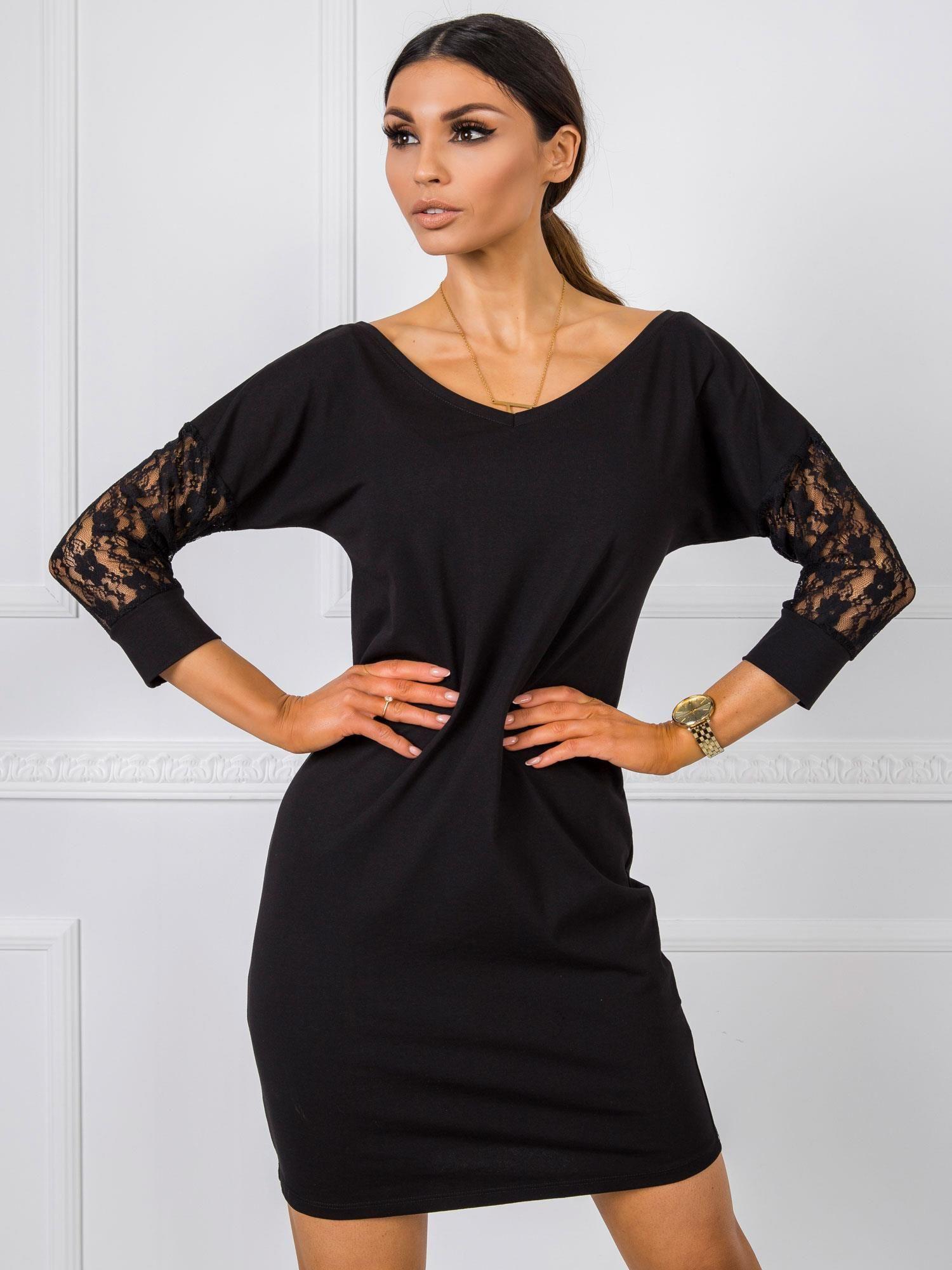 RUE PARIS Čierne šaty s čipkou S