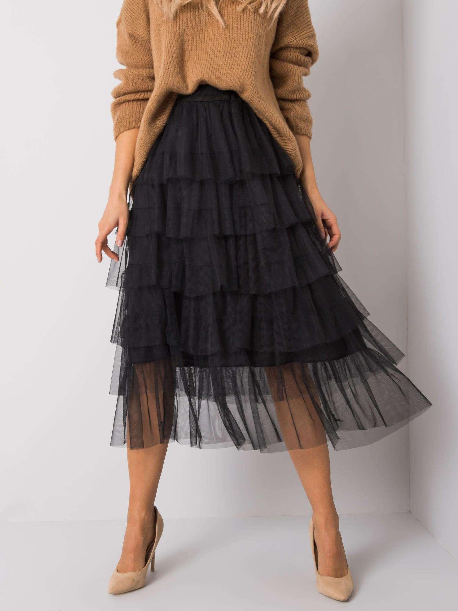 OCH BELLA Černá tylová sukně ONE SIZE