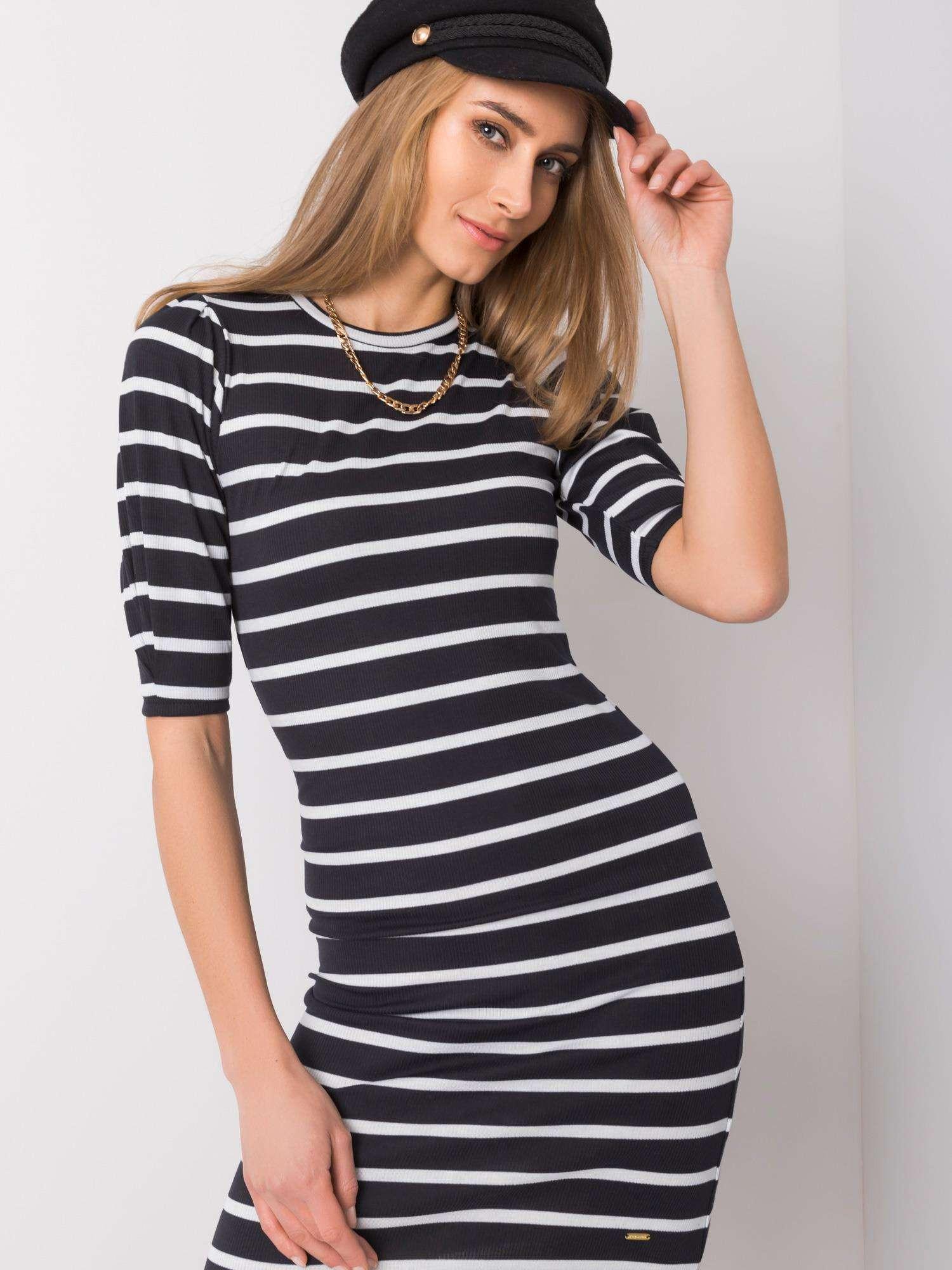 NEPOZNÁTE MA Čiernobiele pruhované šaty L