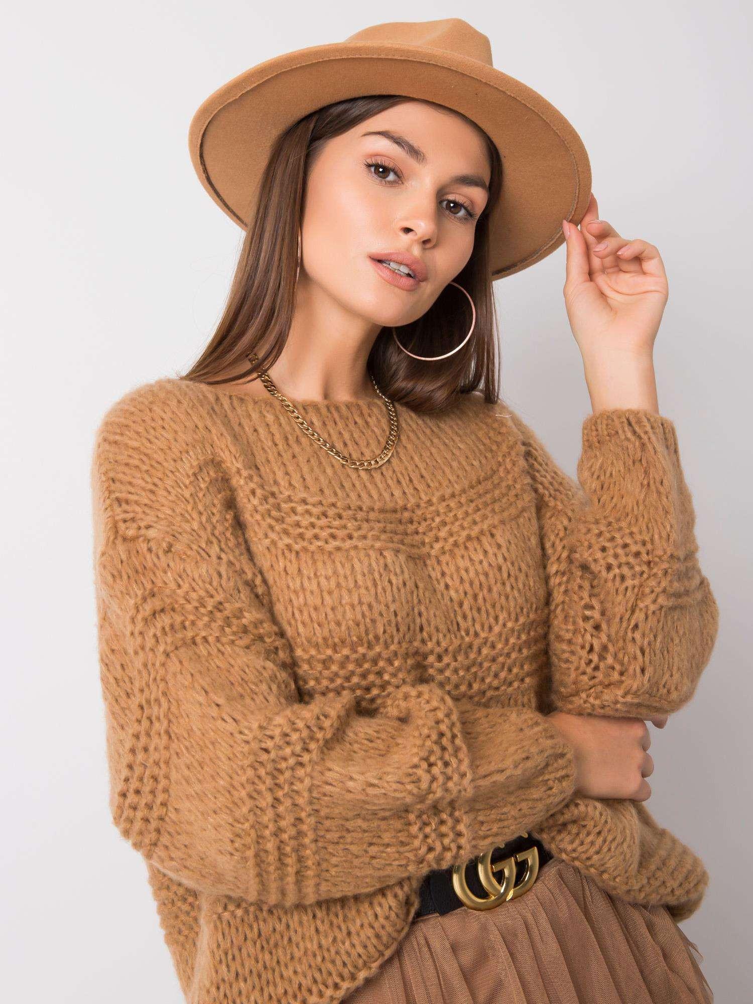 Dámsky sveter OCH BELLA Camel one size