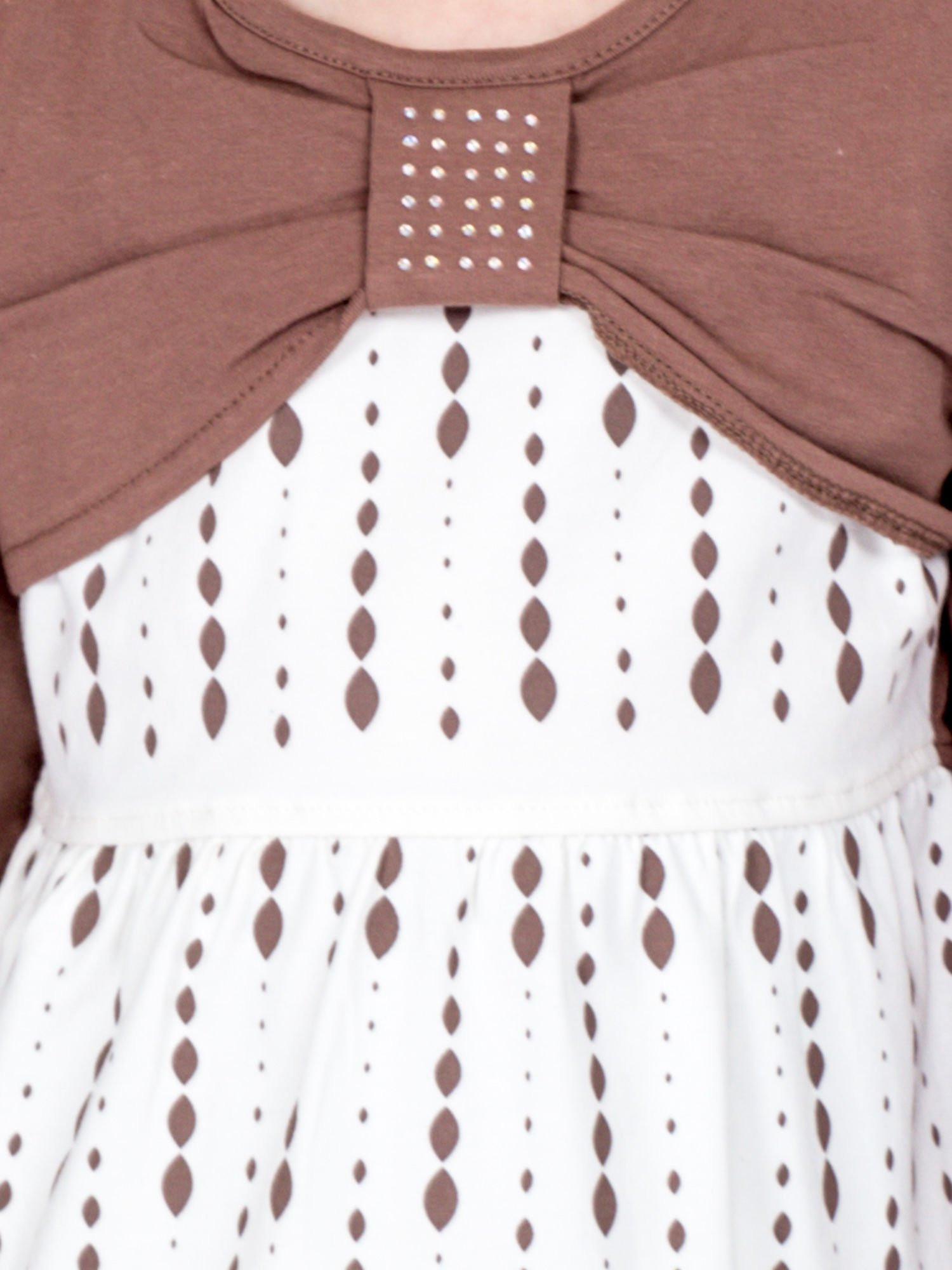 Bavlnené detské šaty s potlačou a dlhými rukávmi ecru 110