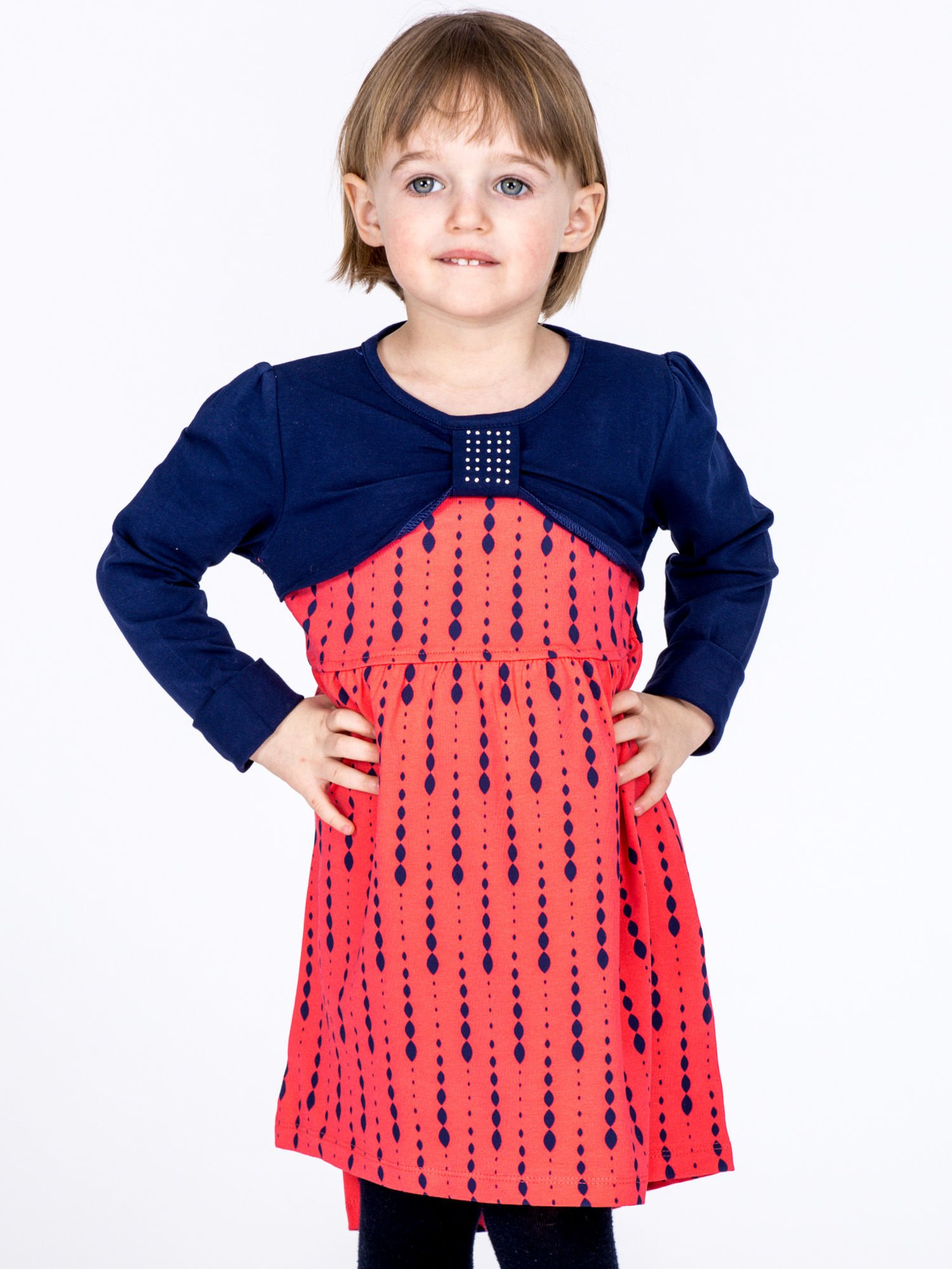 Bavlnené detské šaty s potlačou a dlhými rukávmi, koralové 110