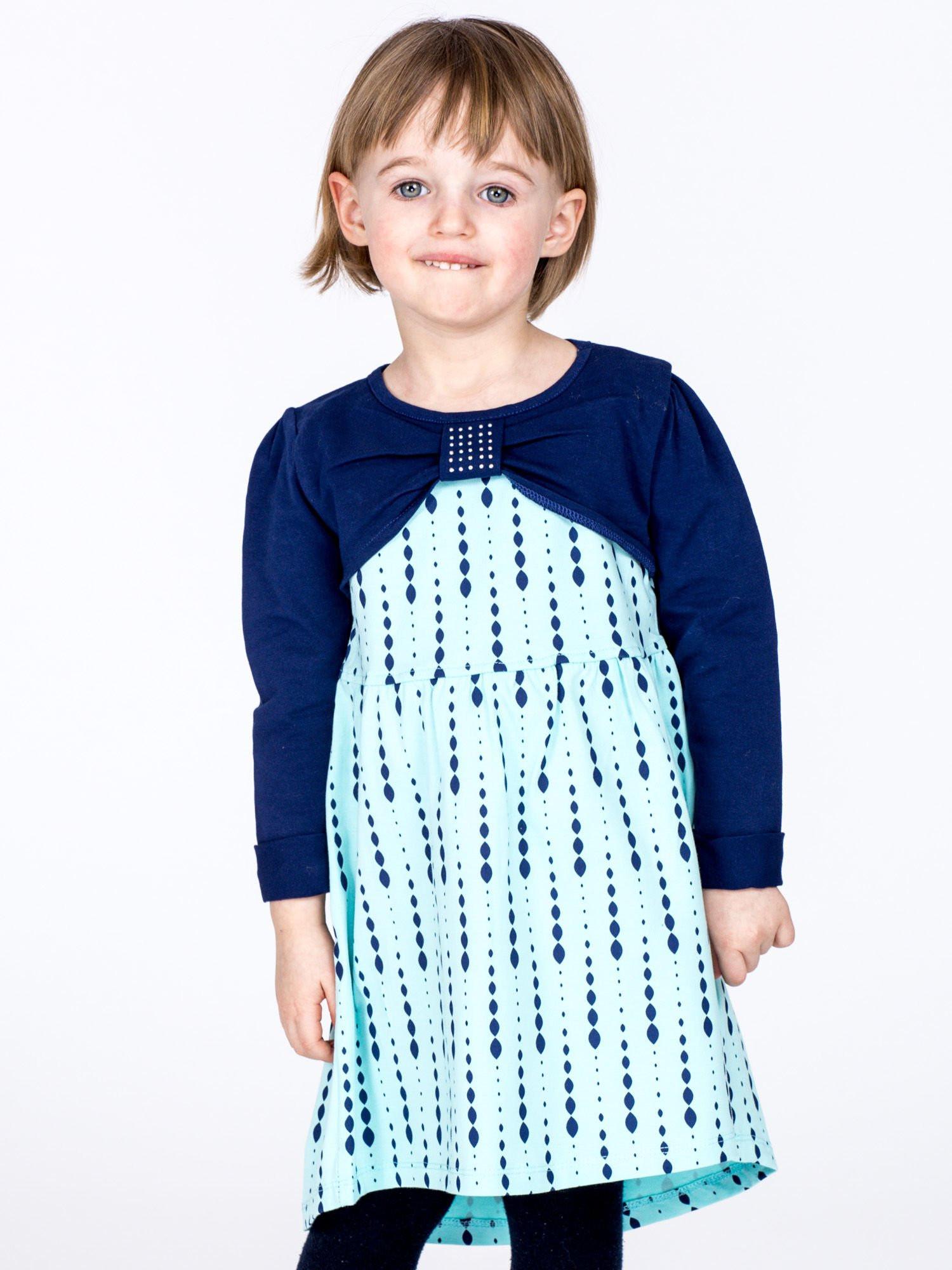 Bavlnené detské šaty s potlačou a dlhými rukávmi, mätové 110