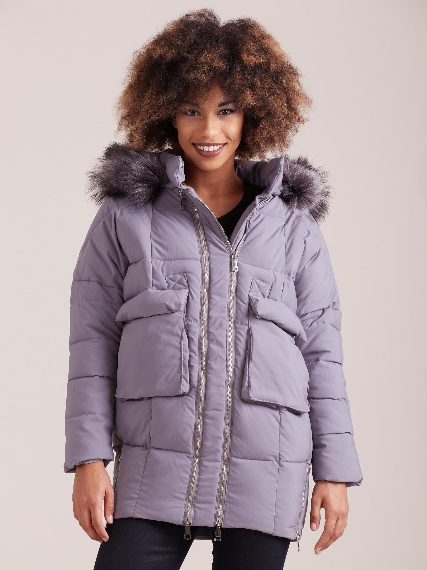 Dámska zimná bunda sivá S