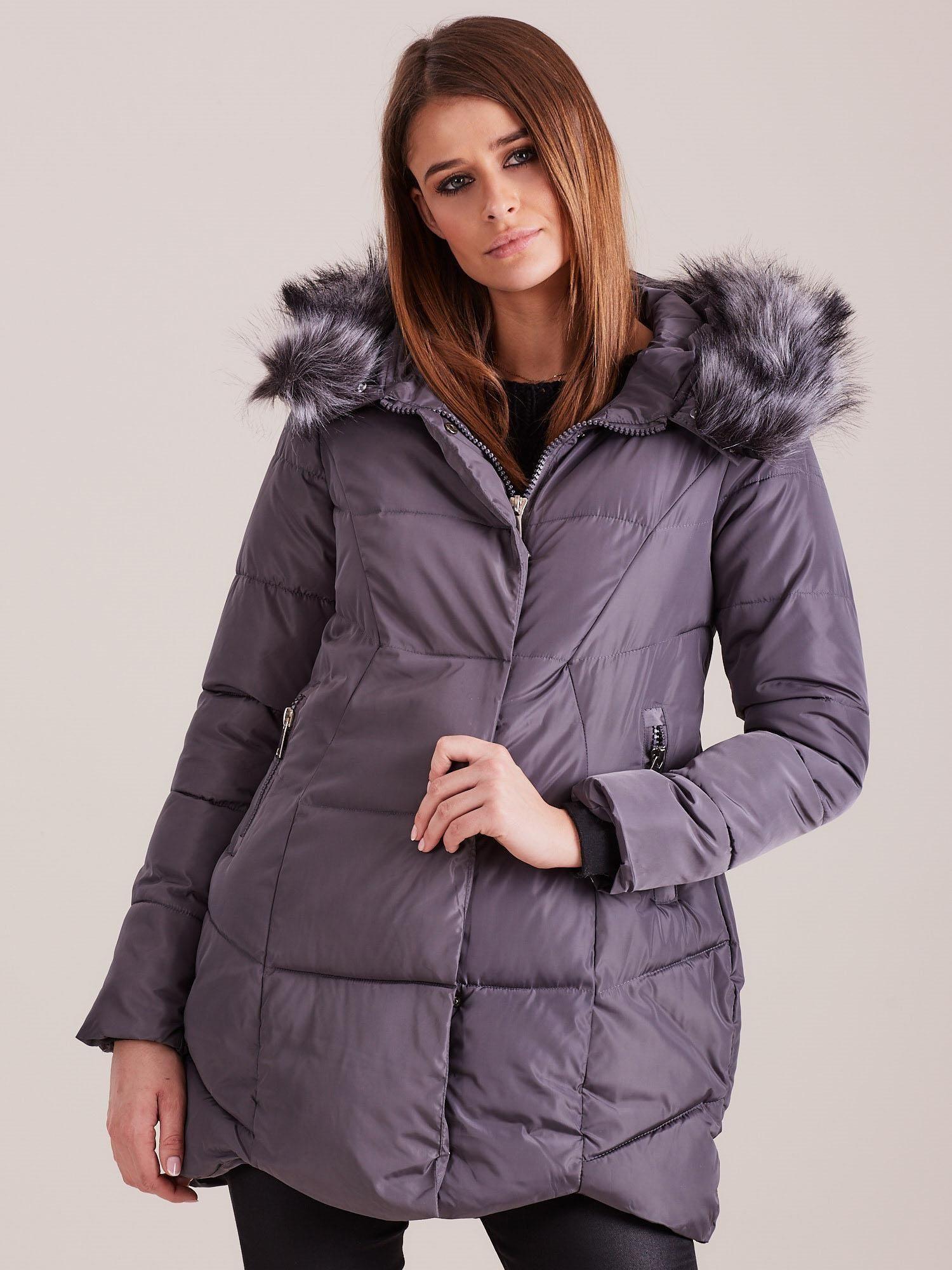 Grafitová zimní bunda s kapucí S