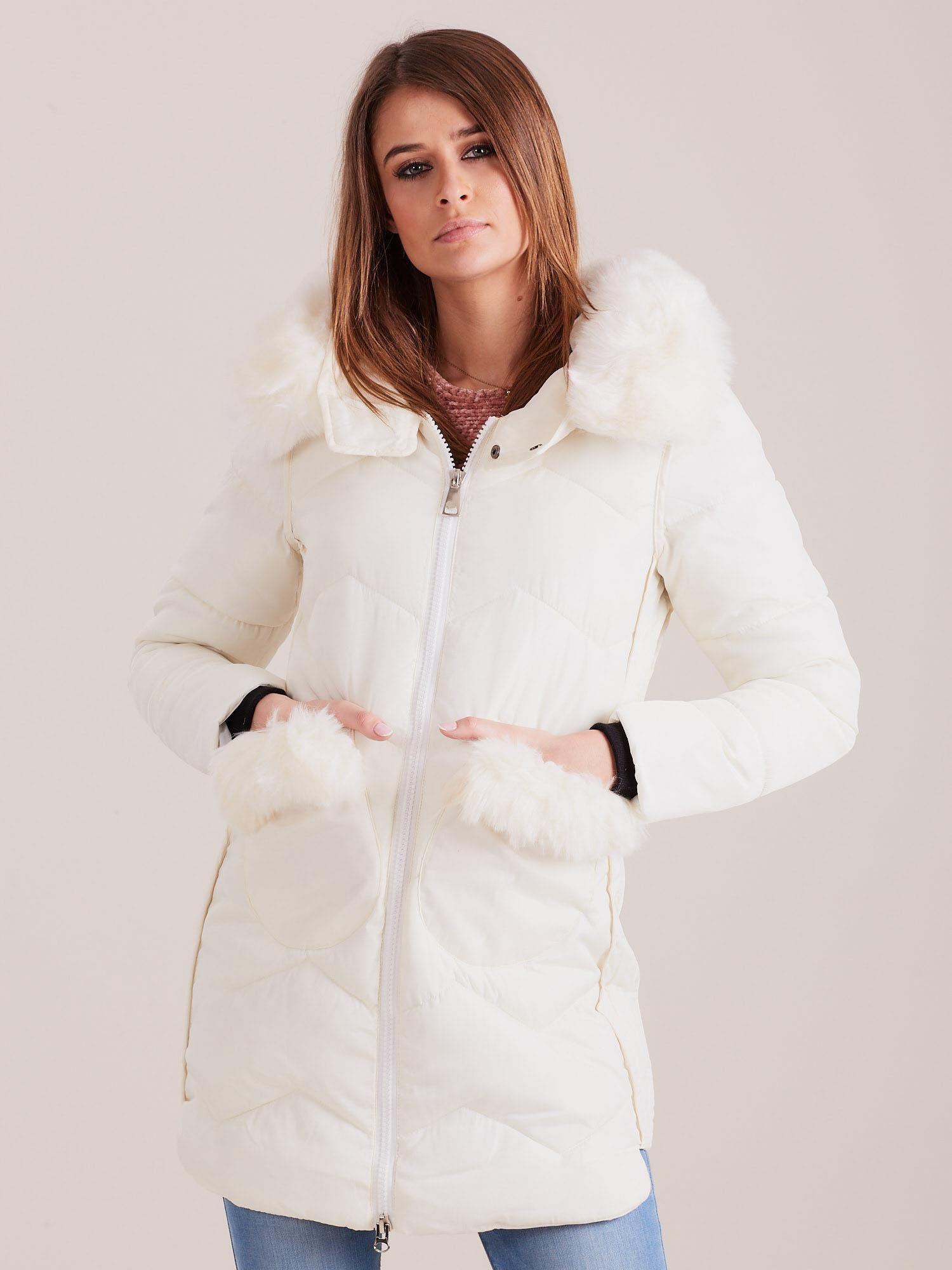Dámská zimní bunda s kožešinou ecru XL