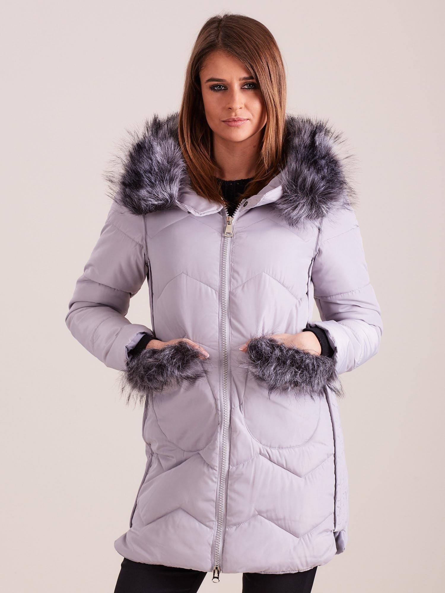 Dámská zimní bunda s kožešinou, šedá S