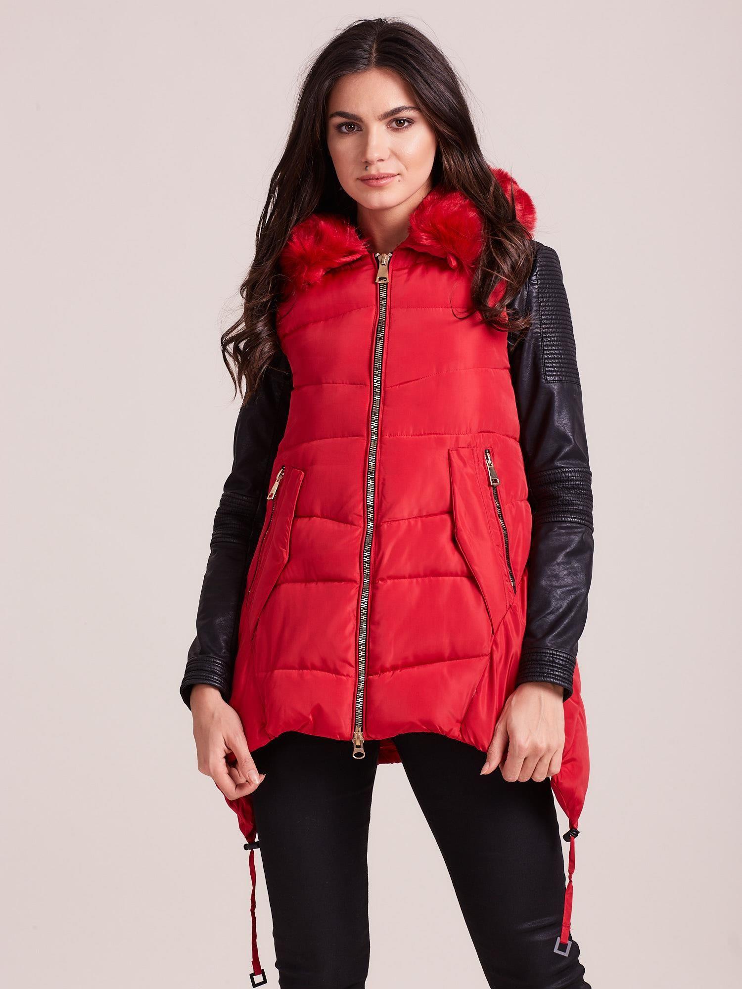 Dámska červená zimná vesta S