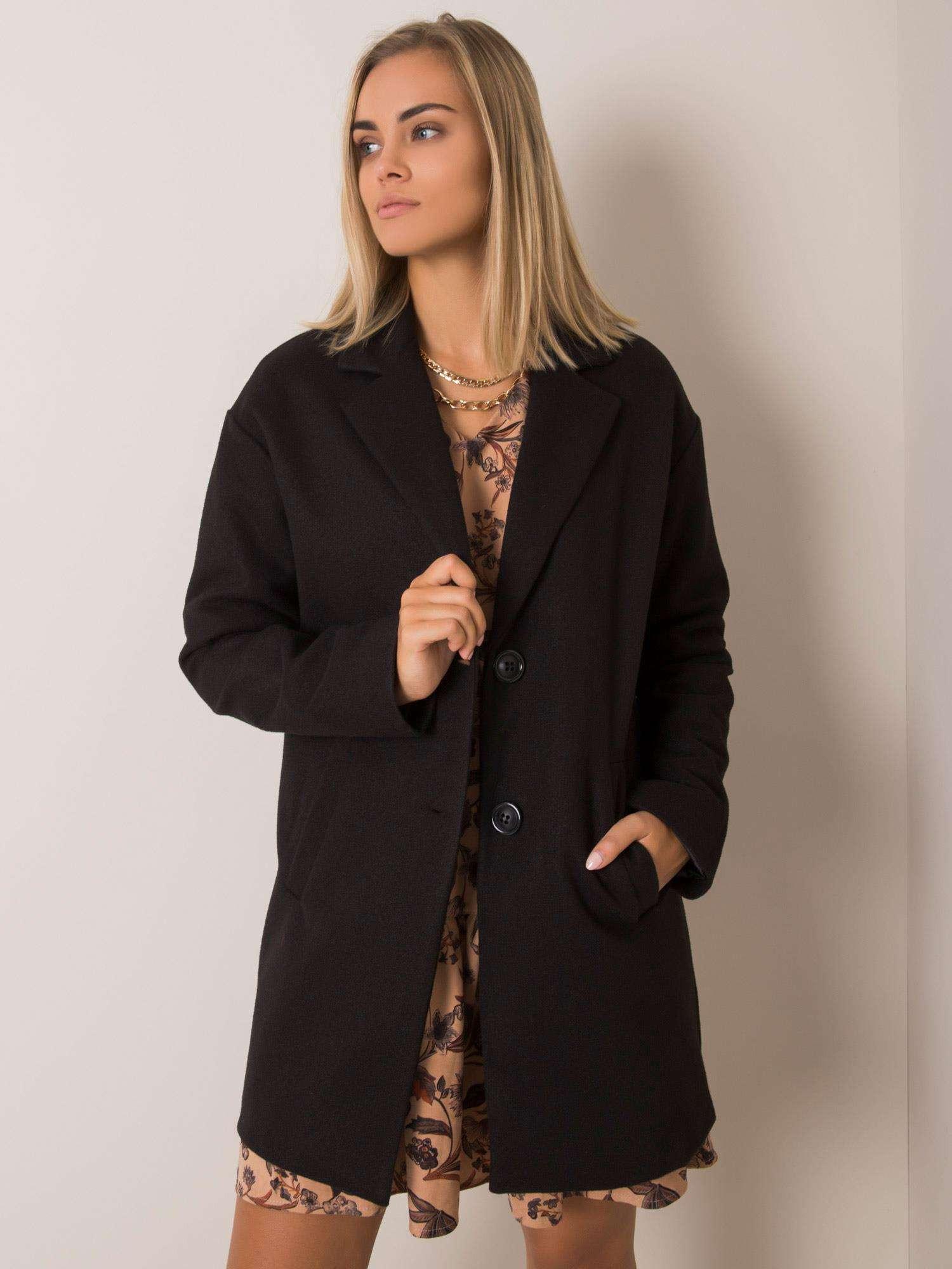 Dámsky čierny kabát S