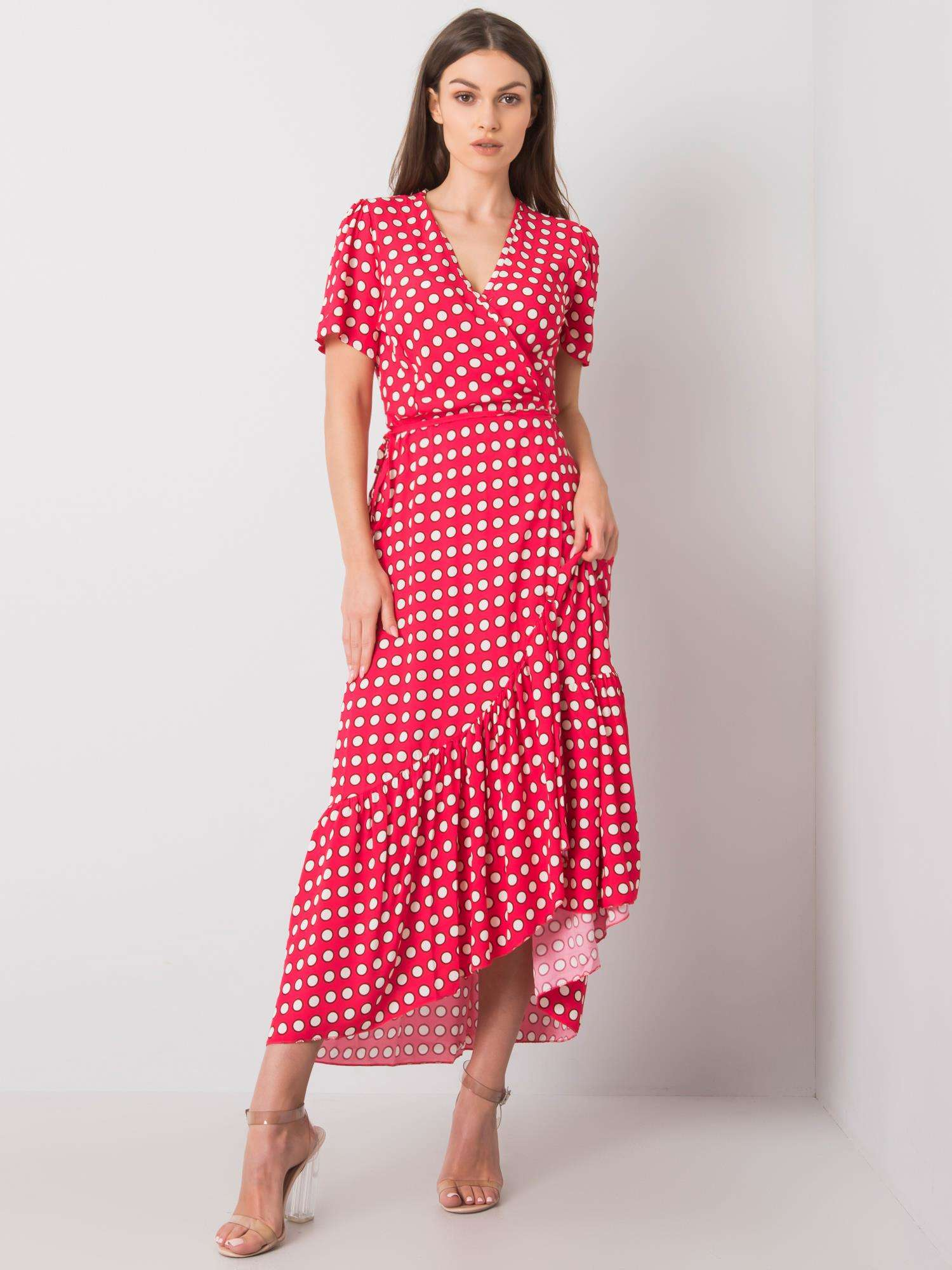 Červené polka dot šaty L