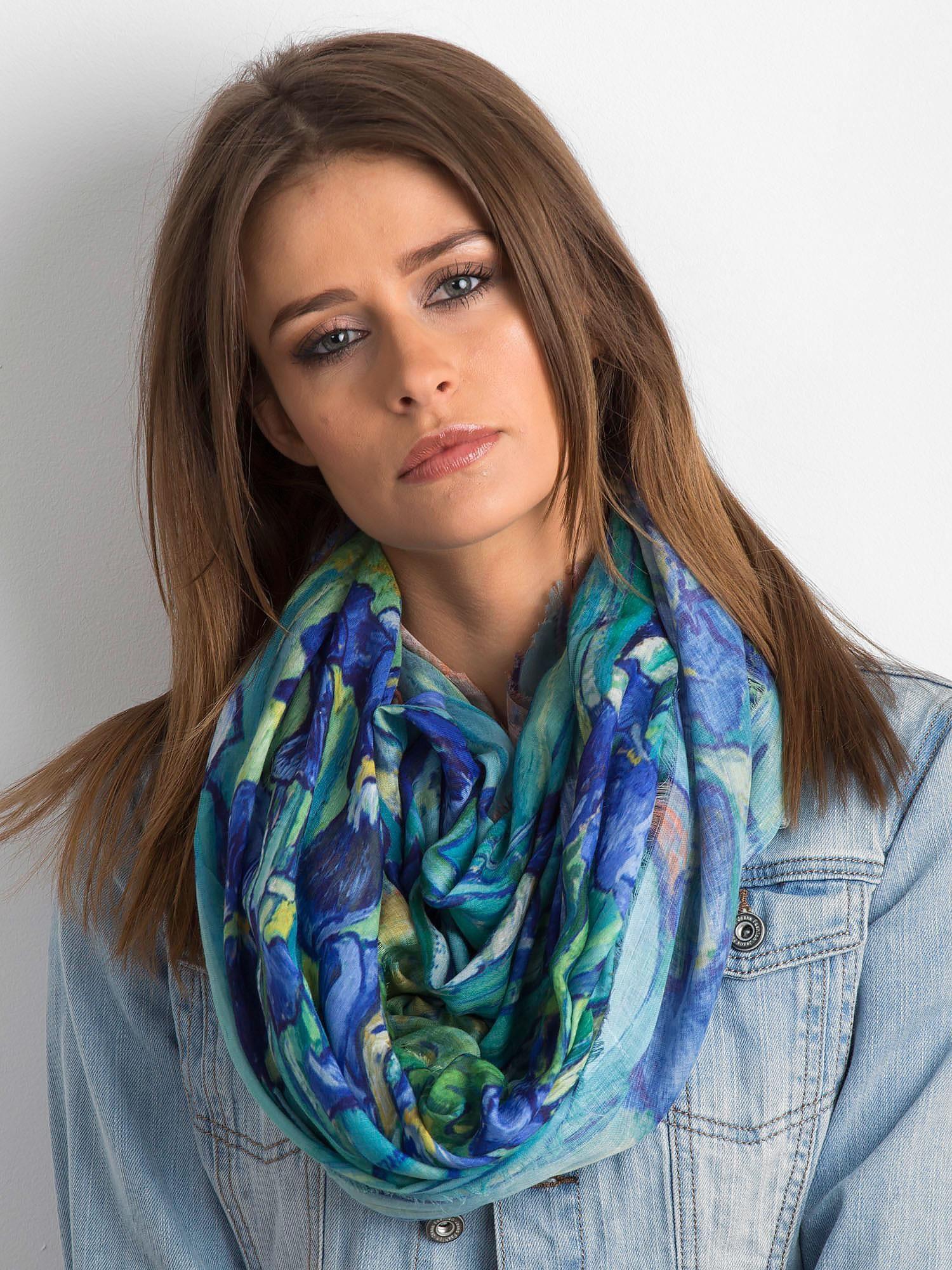 Modro-zelený květinový šátek ONE SIZE
