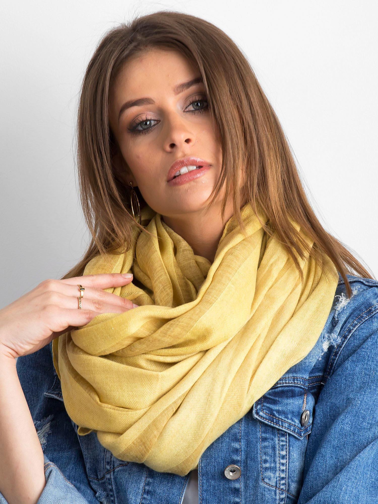 Žlutý široký pruhovaný šátek ONE SIZE