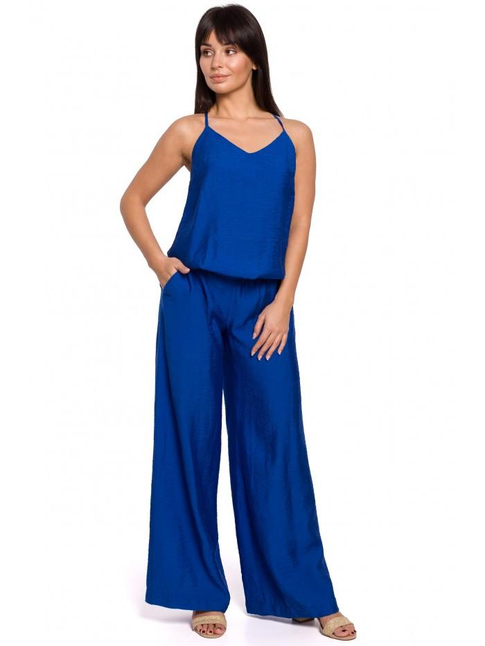 B155 Kombinéza so širokými nohavicami EÚ L kráľovská modrá