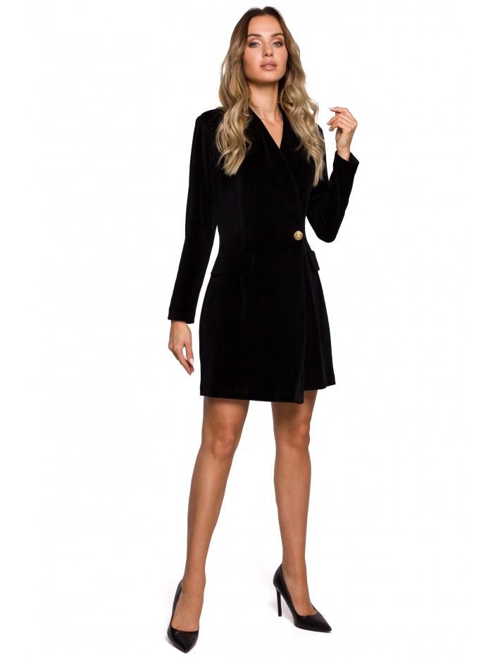 Šaty M562 Velvet Blazer EÚ L čierna