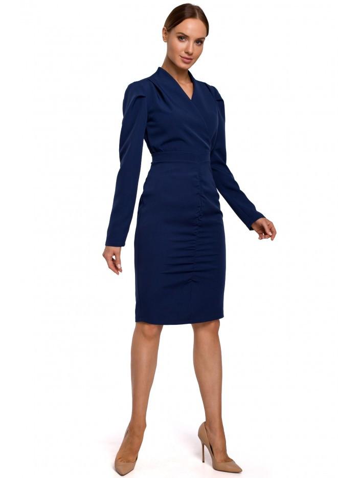 Dámske naberané šaty M547 EÚ L námornícka modrá