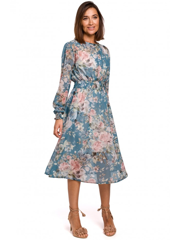 S213 Šifónové midi šaty s dlhým rukávom s kvetinovou potlačou - model EÚ XL model4