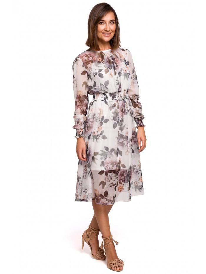 S213 Šifónové midi šaty s dlhým rukávom s kvetinovou potlačou - model EÚ XL model1