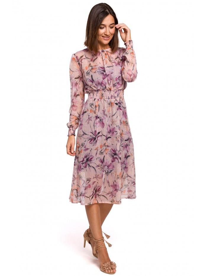 S213 Šifónové midi šaty s dlhým rukávom s kvetinovou potlačou - model EÚ XL Model2