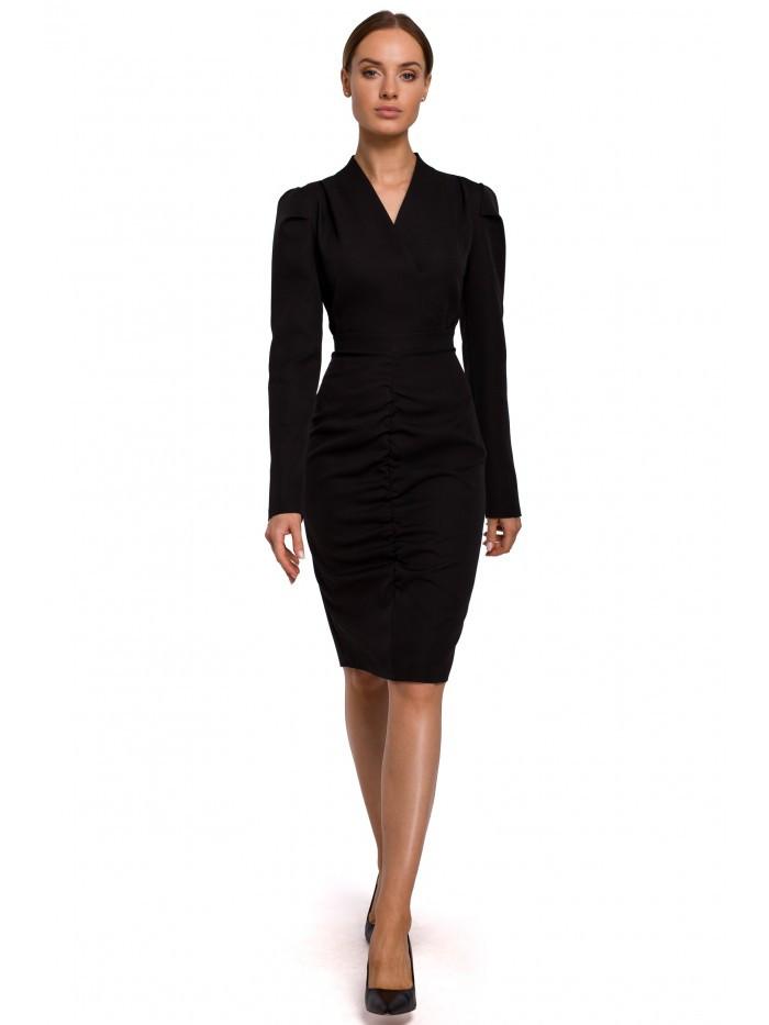 Dámske naberané šaty M547 EÚ L čierna