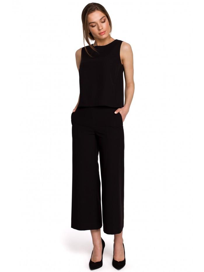 Široké dámske nohavice v 7/8 dĺžke S256 EÚ M čierna