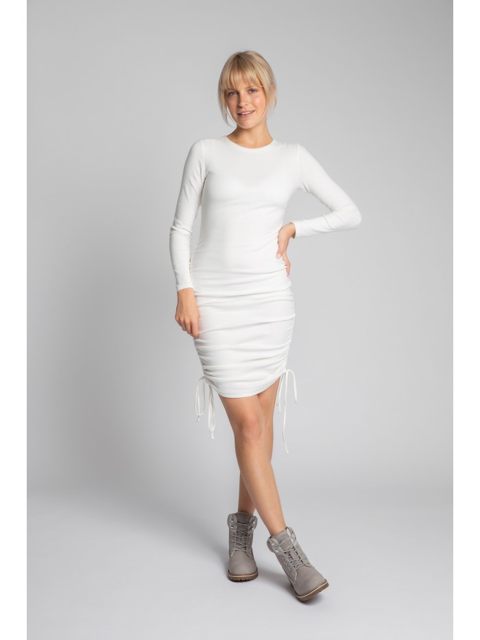 LA039 Ribbed Cotton Knit Dress With Adjustable Tie-Strings EÚ S. ecru