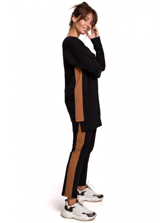B172 dlhý sveter s pruhmi EU S / M čierna