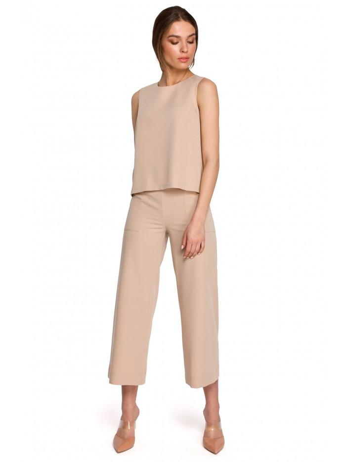 Široké dámske nohavice v 7/8 dĺžke S256 EÚ XL béžový
