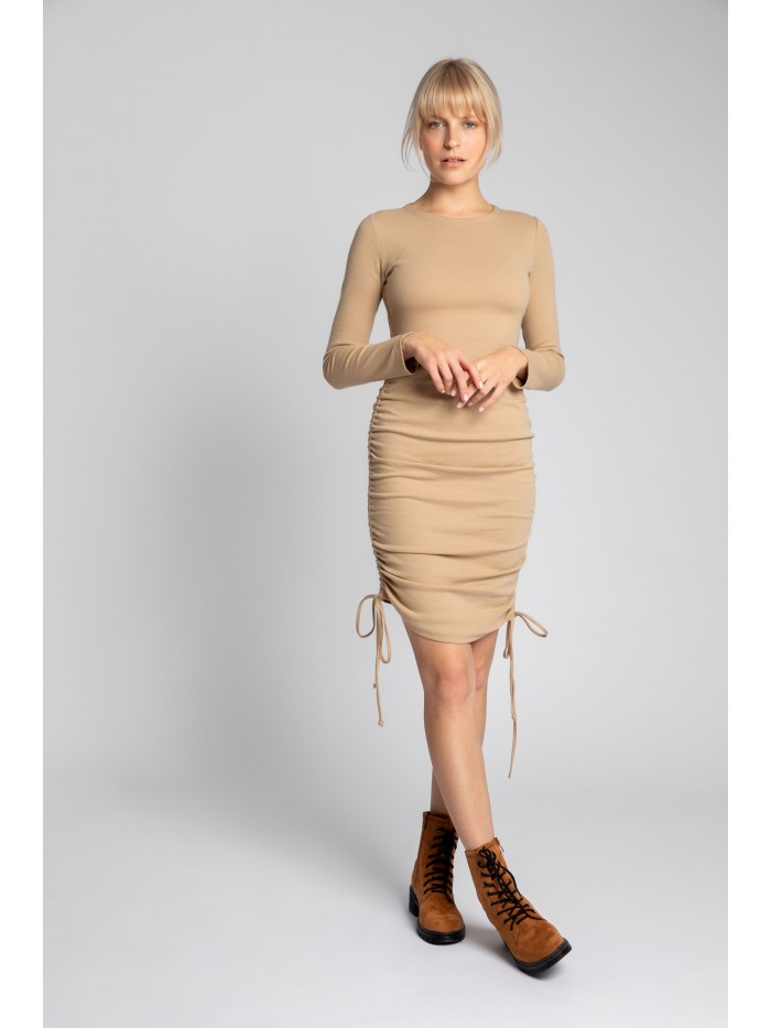 LA039 Ribbed Cotton Knit Dress With Adjustable Tie-Strings EÚ M cappuccino