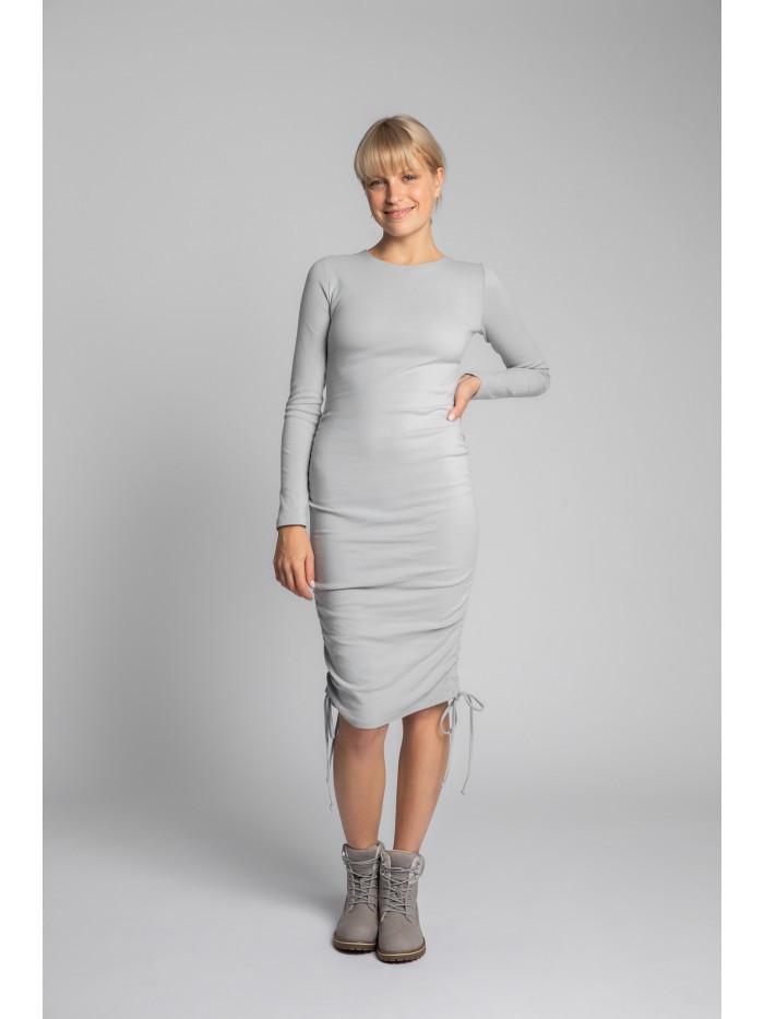 LA039 Ribbed Cotton Knit Dress With Adjustable Tie-Strings EÚ S. svetlo šedá