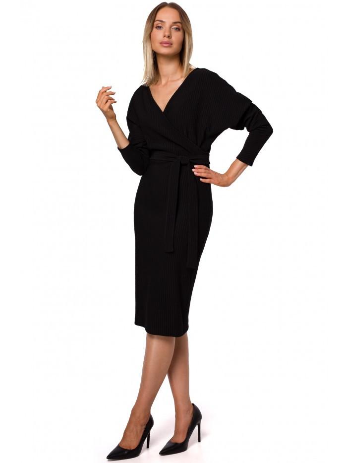 Pletené šaty M523 sa zavinovacím topom a kravatovým opaskom EÚ L čierna