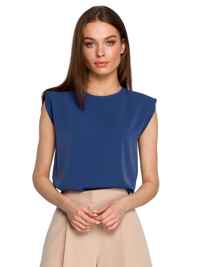 Dámska blúzka bez rukávov S260 s polstrovanými ramenami EÚ XL modrý