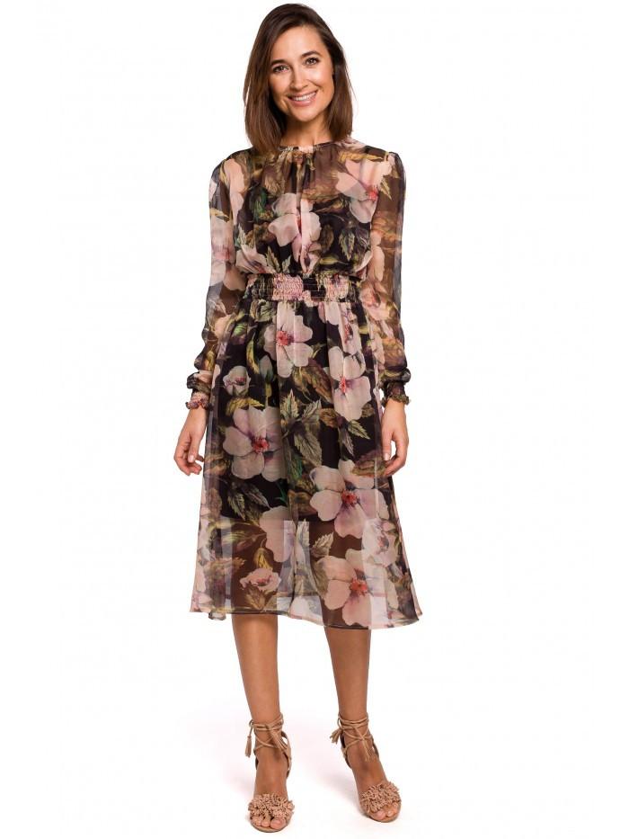 S213 Šifónové midi šaty s dlhým rukávom s kvetinovou potlačou - model EÚ XL model3
