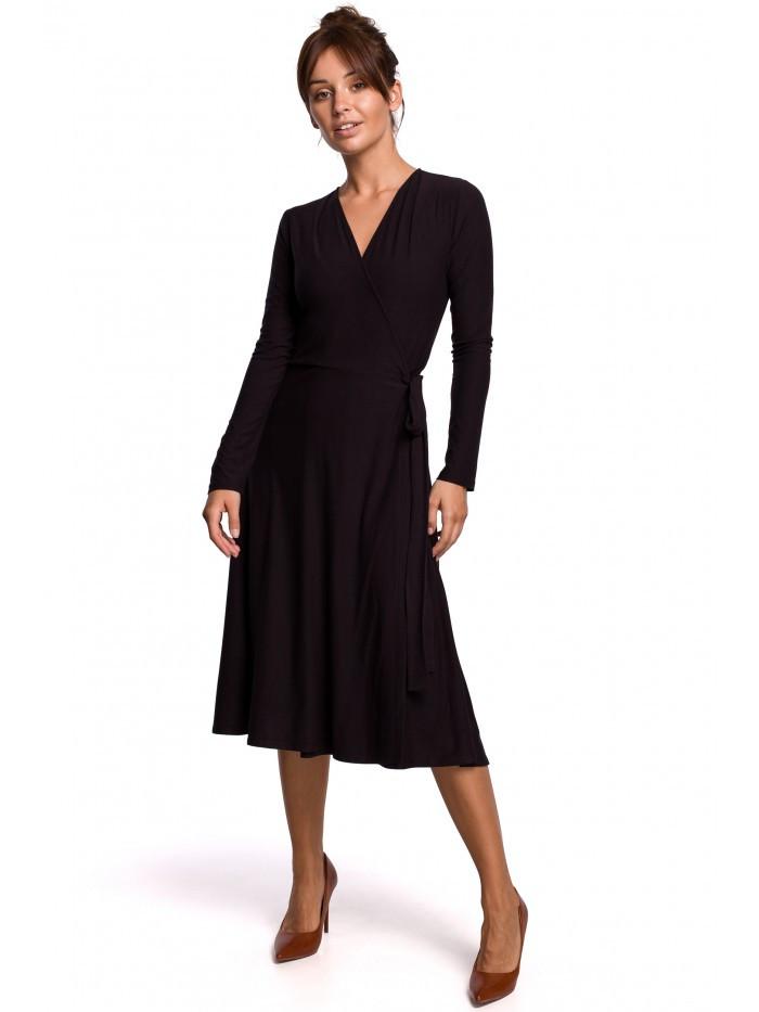 B184 Zavinovacie šaty s kravatovým detailom EÚ L čierna