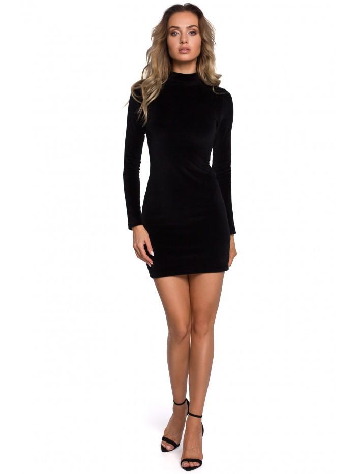 Mini šaty M558 Velvet Turtleneck EÚ M čierna