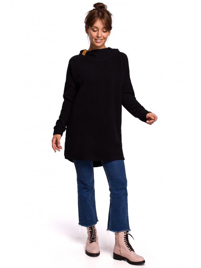 B176 Texturovaný pletený sveter so zaobleným lemom EU S / M čierna