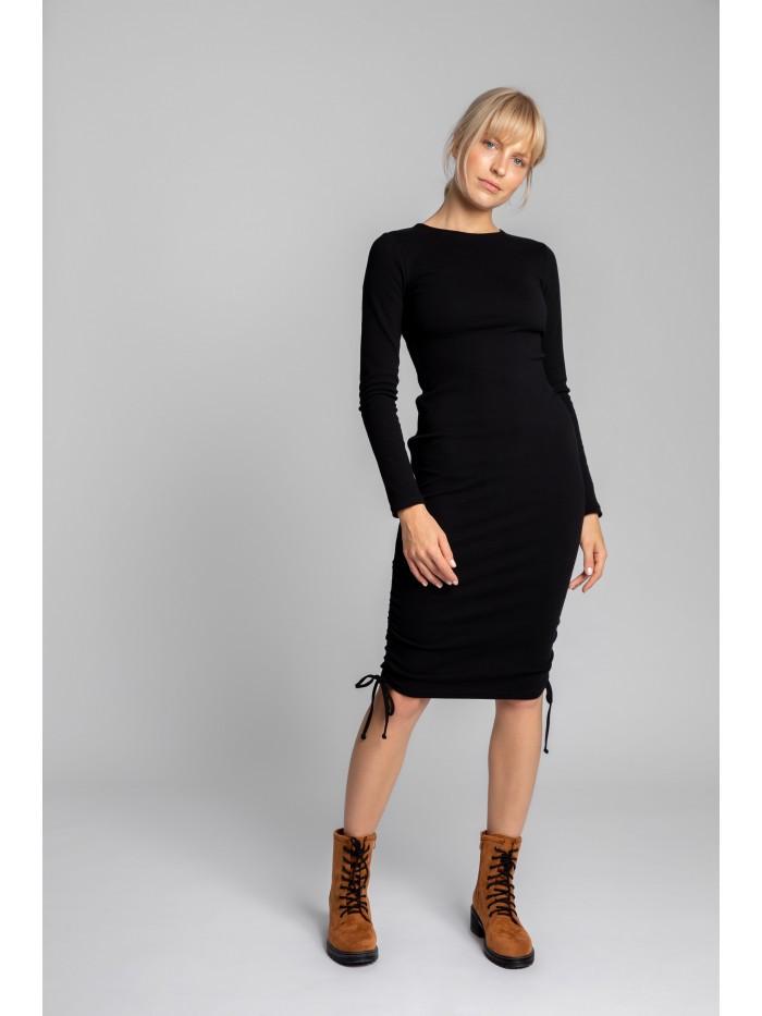 LA039 Ribbed Cotton Knit Dress With Adjustable Tie-Strings EÚ M čierna
