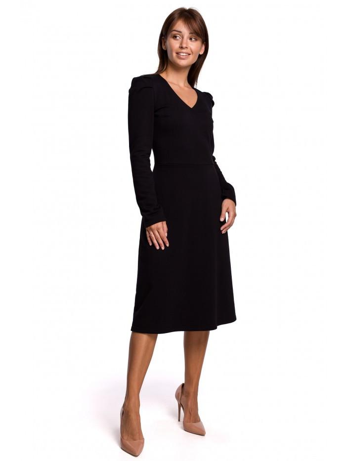 B162 Áčkové šaty s nafúknutým rukávmi EÚ S. čierna