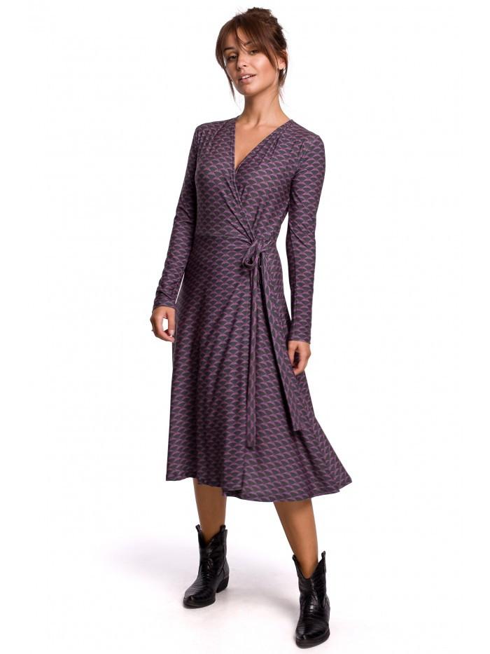 B183 Zavinovacie šaty v modernom tlači - model EÚ XL Model2