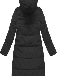 Černý dámský kabát s přírodní vycpávkou (7123) ae89365f187